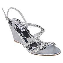 LARA's Women's Ladies Rhinestone Wedge Sandal Bridal Wedding Shoes