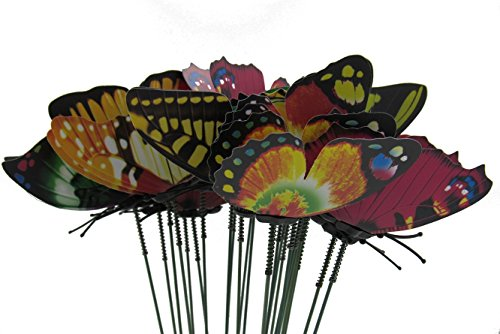 ZXUY Butterfly Garden Ornaments & Patio Decor Butterfly Party Supplies for Set of 24 Garden Yard Planter Colorful Whimsical Butterfly Stakes (Planters For Garden Patio)
