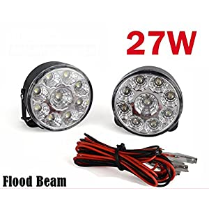 2pcs 27W LED Work Lamp Light Flood Beam Off-road Car Truck SUV Black
