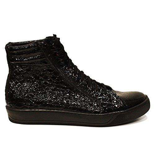 Geprägtes Mode Leder Schwarz Handgemachtes Anamo Rindsleder Sneakers Herren Leder Lässige Modello Italienisch Schuhe Schnüren qHPUxwp