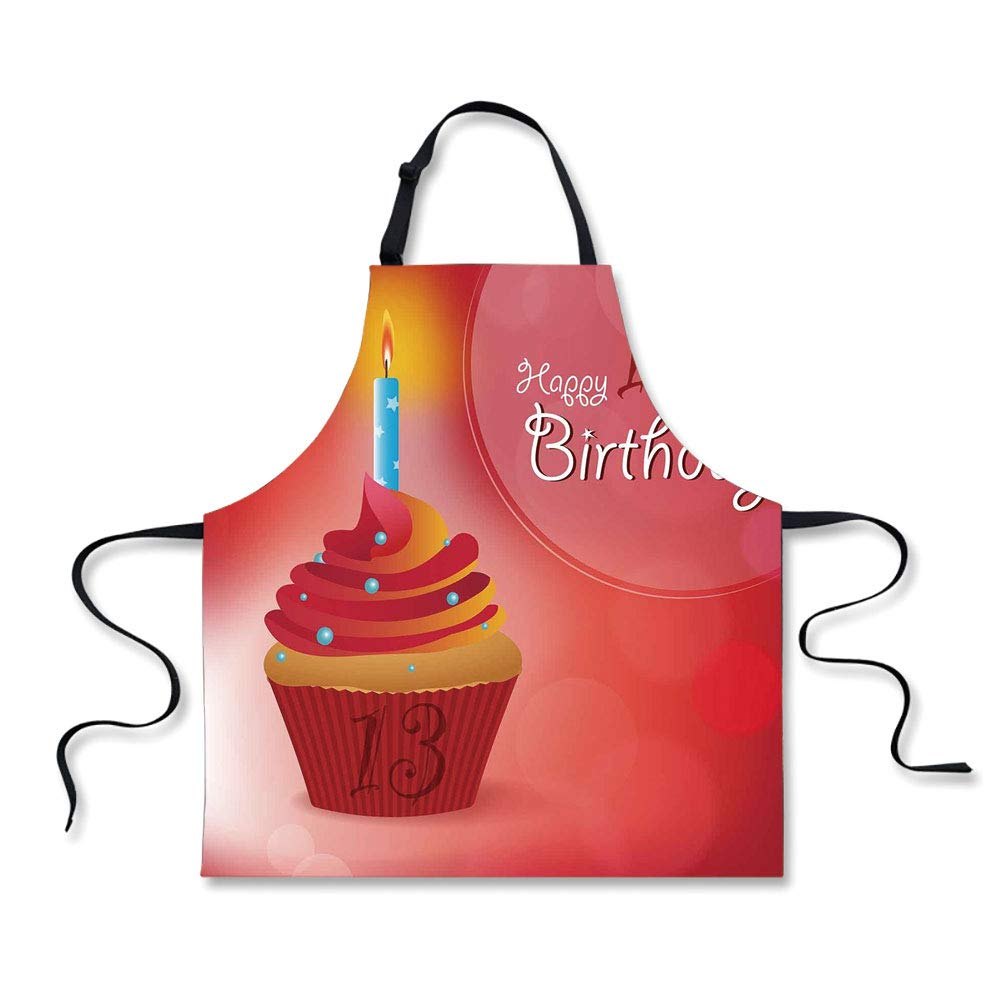 iPrint Personality Apron,13th Birthday Decorations,Delicious Cupcake with Blue Candle Age Thirteen Ceremony,Red Orange Blue,Picture Printed Apron.29.5''x26.3''