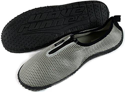 SLR BRANDS Mens Zipper Water Shoes Aqua Socks Zapatos de Agua Silver e0L5RXs