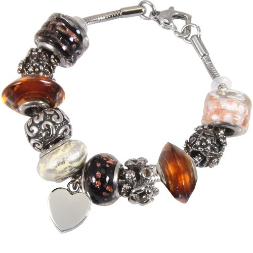 Memorial Gallery Autumn Gold Remembrance Bead Pet Heart Urn Charm Bracelet, 8'' by Memorial Gallery