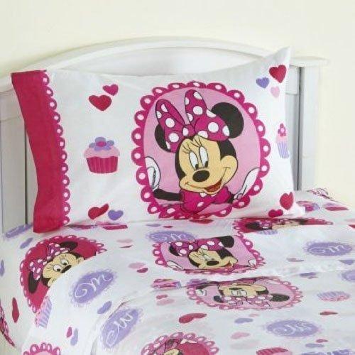 4pc Disney Minnie Mouse Twin Bedding Set Sweet Treats Cupcakes