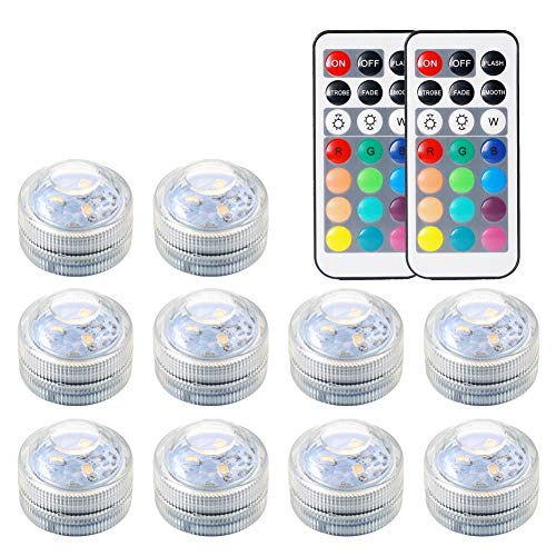 Underwater Submersible LED Lights Waterproof Multi Color Battery Operated Remote Control Wireless RGB Changing Lights for Garden Centerpieces Pond Pool Fountain Waterfall Aquarium Vase Base Christmas by REDGO