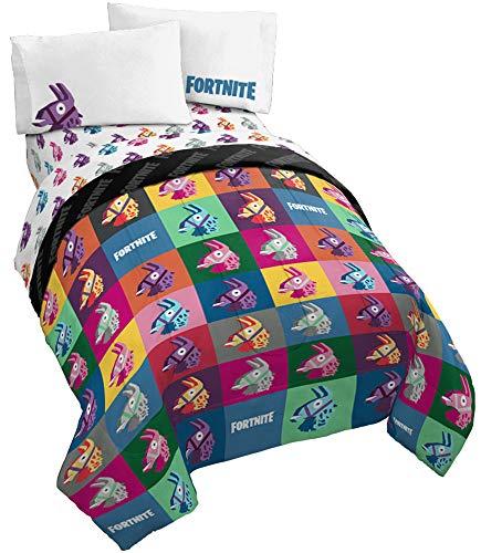 Jay Franco Fortnite Llama Warhol 4 Piece Twin Bed Set – Includes Reversible Comforter & Sheet Set Bedding – Super Soft Fade Resistant Microfiber – (Official Fortnite Product)