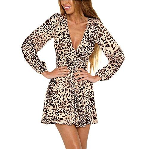 Cloth Leopard (Vamvie Women's High-Waisted Leopard Print Tie Waist V Neck Long Sleeve Clubwear Formal A-Line Dress Leopard,Leopard,Large)