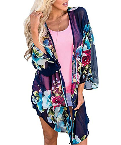 0686a628c7 Womens Bathing Suit Floral Cover Ups Casual Kimono Bell Sleeve Summer  Swimwear Beachwear Bikini Cardigan Navy-4 S