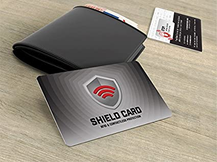 cd4cf6ab34df Rfid Blocking Shield Guard Cards for Full Wallet Security, 2 Pack of Rfid  Blocking Credit Card Size Cards.1 Passport Sized Shield Card Included.