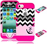 Bastex Heavy Duty Hybrid Case for iPhone 5, 5S, 5th Generation - Hot Pink Silicone / Pink Chevron with Anchor Design Hard Shell