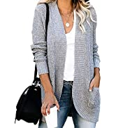 KIRUNDO 2021 Women's Open Front Cardigan Long Sleeve Knitted Soft Sweater Loose Lightweight Slouc...