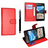 Huawei Y6 Case, Kamal Star® Premium PU Leather Magnetic Case Cover with ATM card and Note slots + Free Stylus (Plain Red Book)