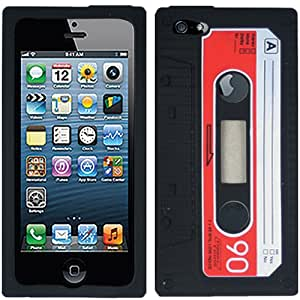 Red Black Cassette Tape Cassete Silicon Soft Skin Case Cover For Apple iPhone 5 5S w/ Free Pouch