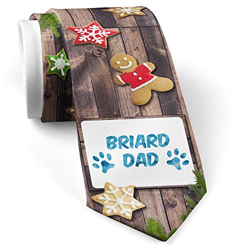 - His Christmas NeckTie Dog & Cat Dad Briard cookie wood print
