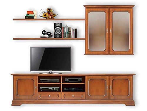 Composizione per parete soggiorno porta tv in legno con pensili