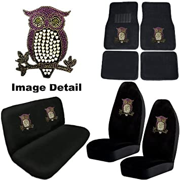 Purple Owl W Hearts Gem Crystal Studded Rhinestone Bling Car Truck SUV Floor Mats Bucket