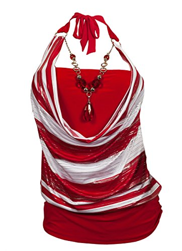 eVogues Plus size Red Glitter print Necklace accented O-ring strap top - 2X ()