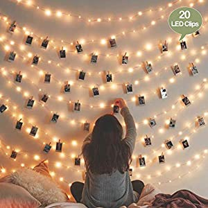 Dopheuor Photo Clip String Lights LED Fairy Clip String Lights Hanging Photo Pictures Battery Operated for Gifts Patio Christmas Bedroom Wedding Birthday Party Halloween Festival Decor (no Battery)