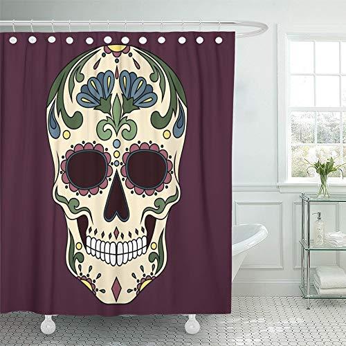 Emvency Shower Curtain 72x78 Inch Home Postcard Decor Ancient Mexican Skull with Blue Flowers Black Celebration Danger Dead Death Demon Shower Hook Set are -