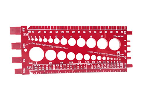 Nut and Bolt Gauge , Metric, UNC, UNF, with Thread Pitch on Back(5 Colors to Choose From in Listing) (RED)