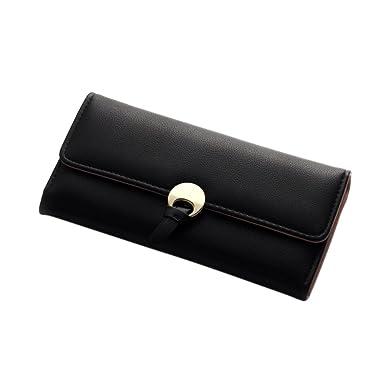 8da0720333f4 Women Fashion Simple Wallet Soft PU Three Folding Clutch Credit Purse Card  Holder Organizer with Clasp