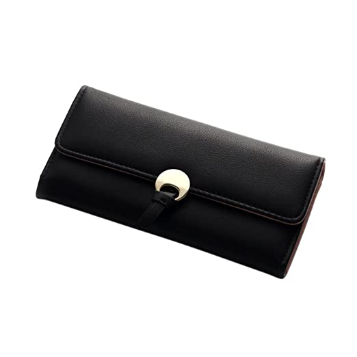 Lady Concise Soft Pu Leather Three Folding Clutch Coins Purse Card