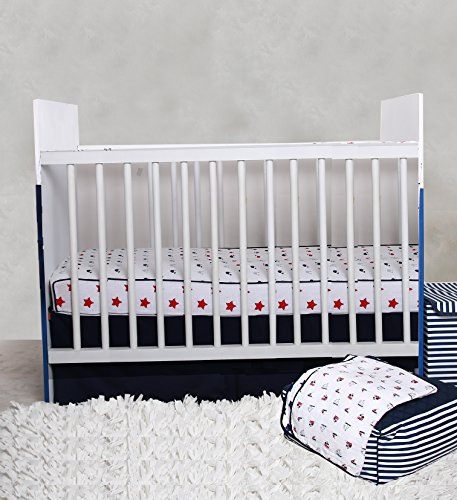 es/Boats/Stars Boys 100% Cotton 3 Piece Crib Set with 4 Layer Lux Blanket/Fitted Sheet/Skirt, Navy/Red ()