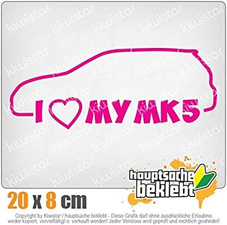 I Love my MK5 20 x 8 cm IN 15 FARBEN Chrom Sticker Aufkleber Neon