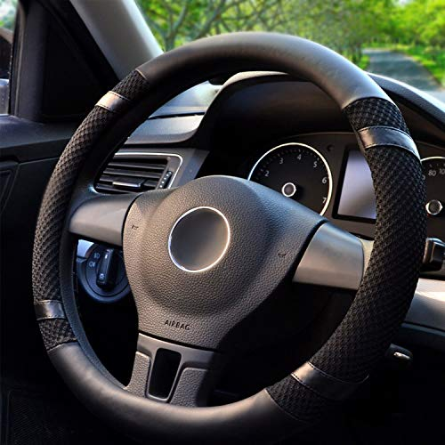 BOKIN Steering Wheel Cover Microfiber Leather Viscose, Breathable, Anti-Slip, Odorless, Warm in Winter Cool in Summer, Universal 15 Inches