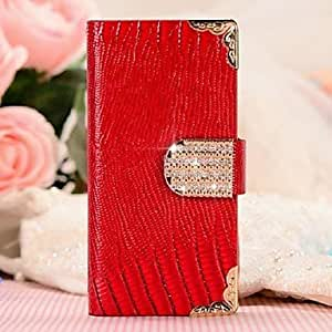 LZX Fashion Lizard Buckle PU Leather Protective Full Body Case with Stand and Card Slot for iPhone 5/5S(Assorted Colors) , Rose