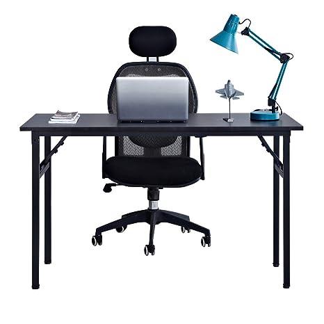 Need Mesa Plegable 120x60cm Mesa de Ordenador Escritorio de Oficina Mesa de Estudio Puesto de trabajo Mesas de Recepción Mesa de Formación, Negro