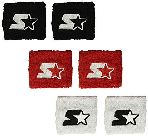 Starter Youth Unisex 6-Pack Wristband (Three Pair), Amazon Exclusive, Black/White/Team Red, One Size