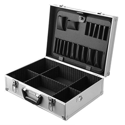 Box Professional Aluminum Tool (Professional 17.6 x 12.9 x 5.9 Inches Aluminum Tool Box Hard Case Rugged Textured Carrying Case Divides Suitcase with Carrying Handle (Black))