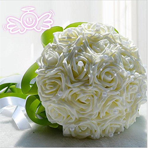 Hestian 18pcs Rose Pearls Chains Chains Stain Ribbon Handle Bridal Wedding Bouquet Silk Rose Hand Tie (18pcs with Green Ribbon---Ivory) (Bouquet Tie)