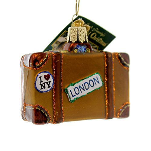 Old World Christmas Suitcase Glass Blown Ornament (Ornament Suitcase)