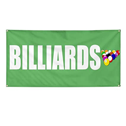 Amazon com : Vinyl Banner Sign Billiards Green and White