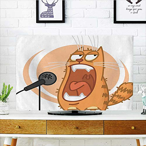 Auraisehome Dust Resistant Television Protector Cool Rock Star Like Cat with Microphone Singing Image Charcoal Grey Peach and tv dust Cover W25 x H45 INCH/TV 47