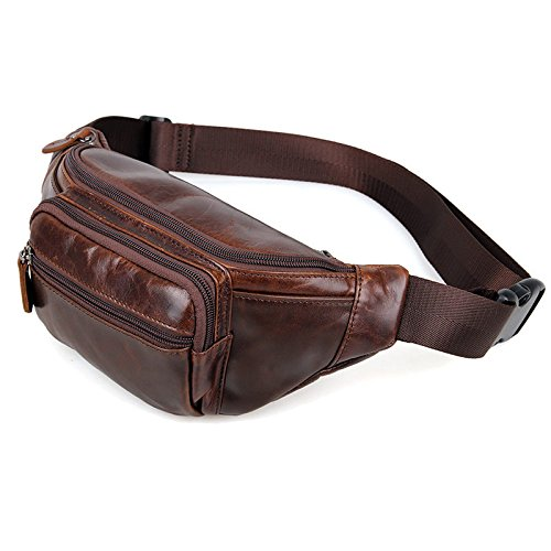 the love Coffee Genuine Leathers Men Waist Bag Waist Packs for Outdoor Sports Climbing Hiking or Travel Leisure by the love