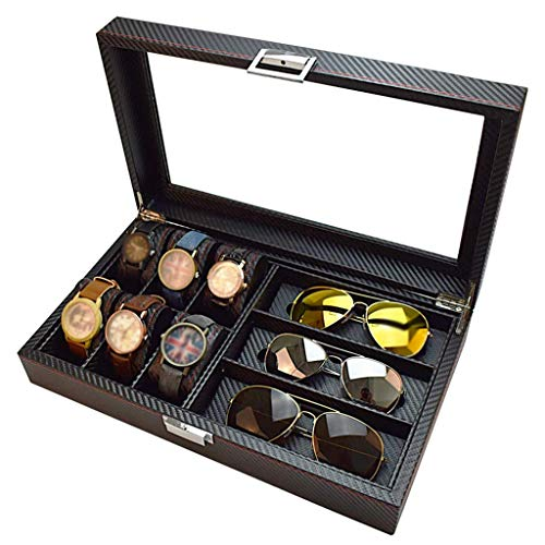 6 Slot Watch Box and 3 Slot Eyeglasses Storage Carbon Fiber Combo Jewelry Case and Sunglass Glasses Display Case for Men/Women