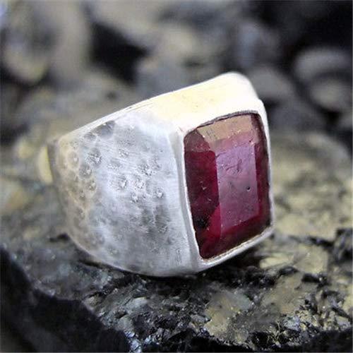 Ancient Design Handmade Hammered Natural Ruby Men Ring 22K Gold Over 925K Sterling Silver ()
