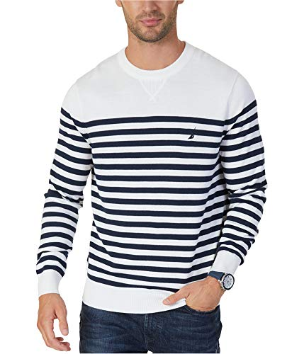 Nautica Men's Classic-Fit Breton Striped Sweater Marshmallow Combo XL