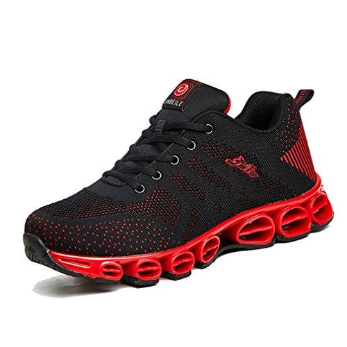 [QIFENGDIANZI]ランニングシューズ メンズ ブルー/ブラック/黒赤/ブラックグレー おしゃれ スポーツシューズ ジョギング スニーカー トレッキングシューズ オールシーズン用 滑り止め コンフォート 24.5cm-27.0cm