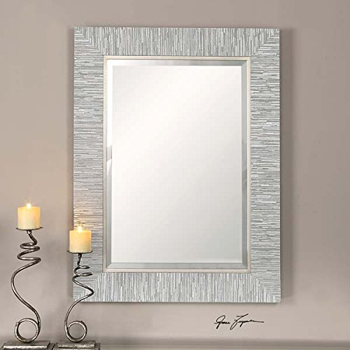 Silver Striped Rectangular Coastal Contemporary product image