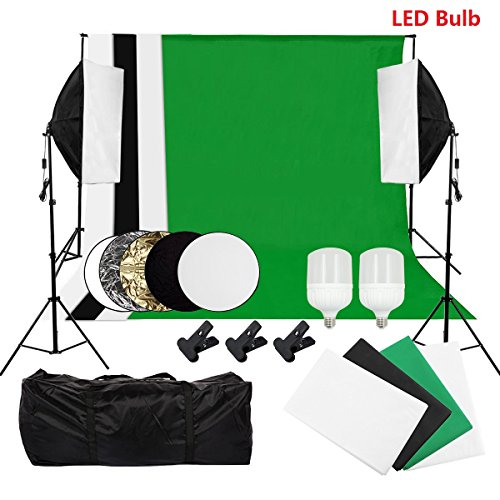 Photography Continuous Lighting Kit Photo Studio Set Background Support System, 2 x LED Bulb Softbox Light Kit for Video, Portrait and Photography - Light Set Video