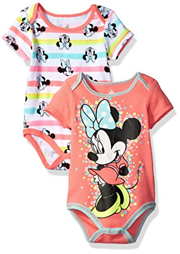 Disney Baby Girls' Minnie Mouse 2 Pack Bodysuit, Coral, 0/3M