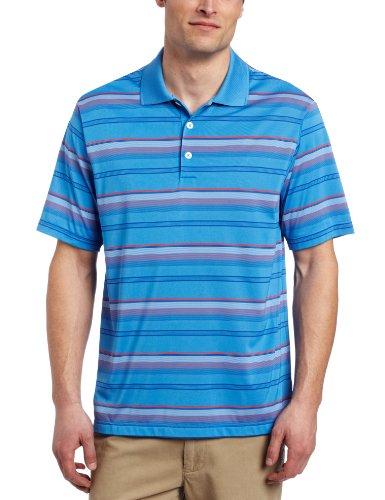 adidas Golf Men's Climacool Merchandising Stripe Polo Shirt, Oasis/Blueberry, Medium