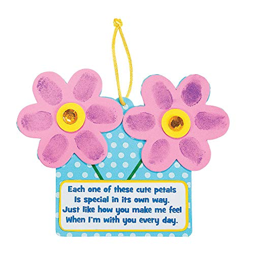 Fun Express - Thumbprint Flowers with Poem ck for Spring - Craft Kits - Ornament Craft Kits - Non Foam - Spring - 12 Pieces