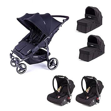 Cochecito doble Baby Monsters Easy Twin 3S - Chassis negro + 2 nacelles + 2 asiento de coche luna negro 2018: Amazon.es: Bebé