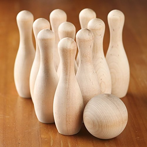 Factory Direct Craft Small Unfinished Wood Toy Bowling Pin Game Set