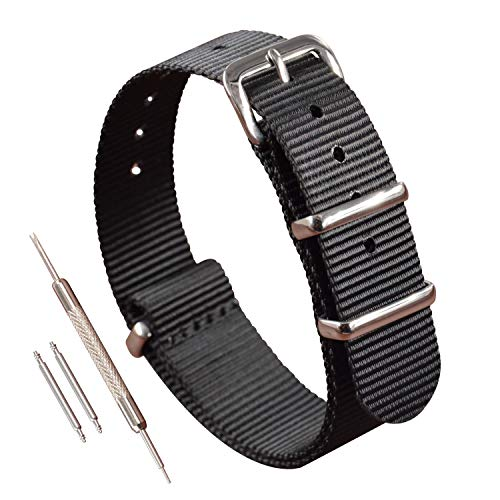 15mm Nylon NATO Watch Strap Band Black One-Piece Style Strap Thin Replacement (15mm Nylon Watch Band)